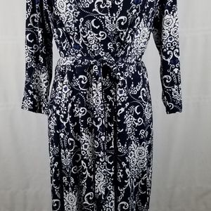 Glamour 3/4 sleeve surplice bodice midi dress 16W